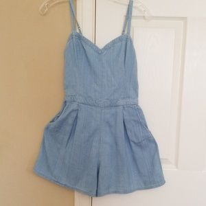 Hollister light denim rompers